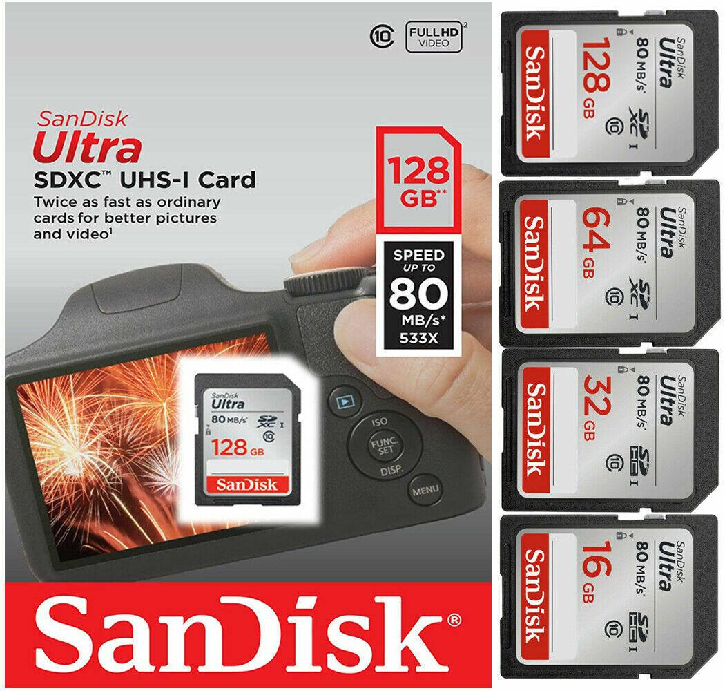 16GB 32GB 64GB 128GB SanDisk Ultra SD Card Class 10 80MB/s M