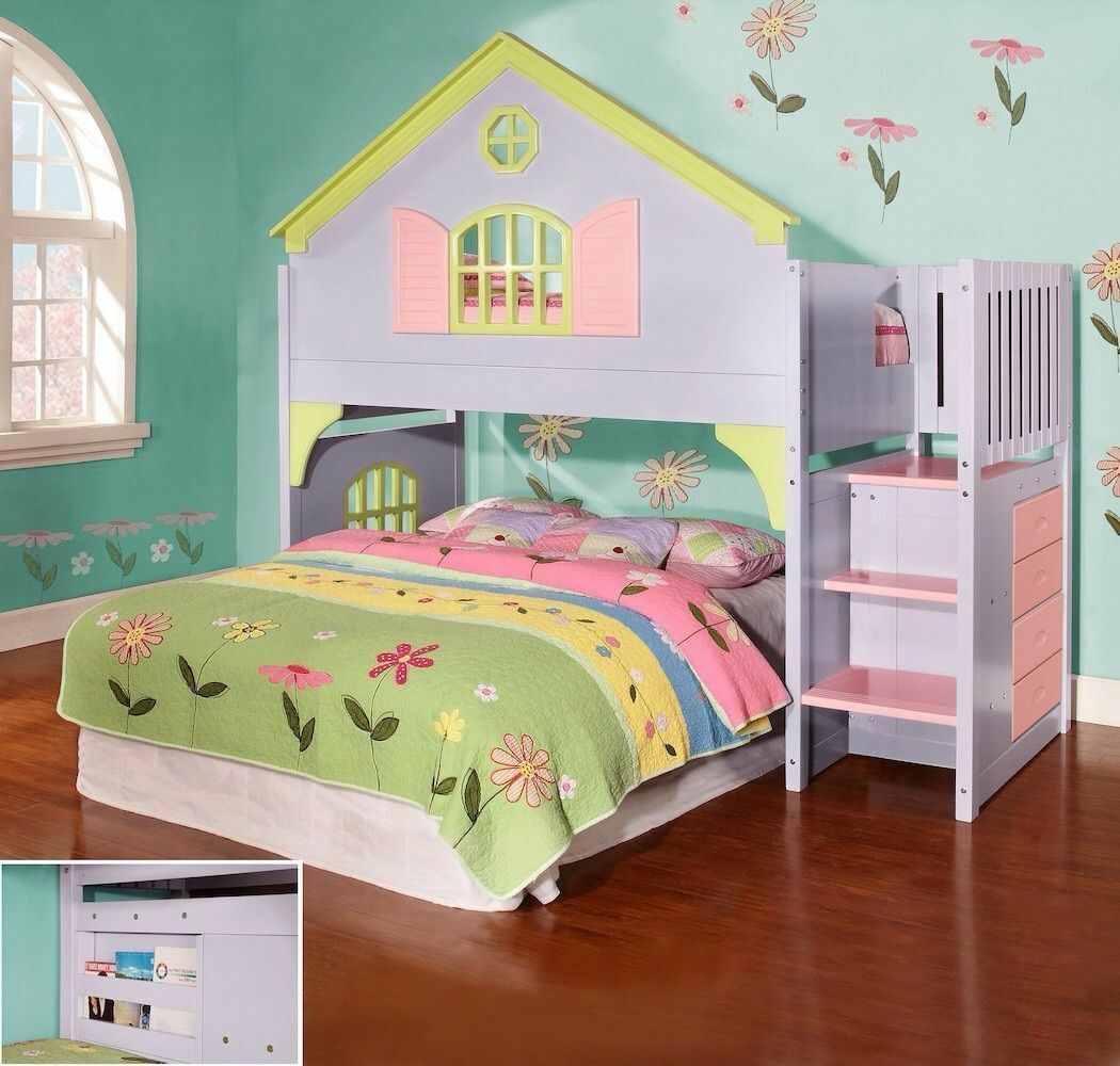 Girls Twin Doll House Loft or Bunk Bed with Stairs, Drawers