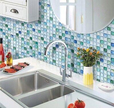 Home Bathroom Kitchen Wall Decor 3D Sticker Wallpaper Art Tile S Blue Backsplash
