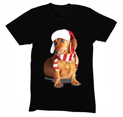 Wiener Dog T-shirt (Mens Dachshund Wiener Dog Lover Santa Scarf Winter Christmas Sweater T-Shirt)