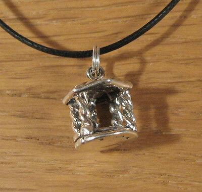 Garden Oasis Gazebo (Gazebo Charm Pendant Necklace .925 Sterling Silver USA Made Garden Flowers Oasis )