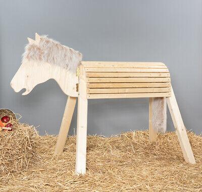 Holzpferd,Voltigierpferd, bewegl. Kopf, ca.90-96cm, unbehandelt