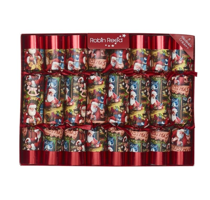 Robin Reed H0 Christmas Holiday 8pc 10in Themed Crackers - Santa's Toyshop