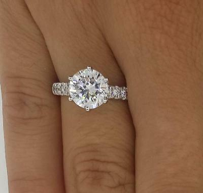 2 Ct Round Cut Diamond Engagement Ring VS1/F 18K White Gold