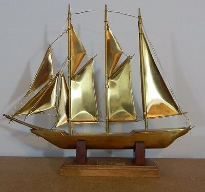 "Brass Model of yacht  Schooner ""Sir Winston Churchill 1965 27cm x 24cm"