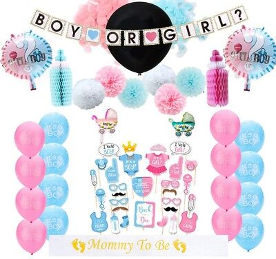 New Gender Reveal Party Decorations Kit 63pcs / Baby Gender Reveal - Baby Gender Reveal Decorations