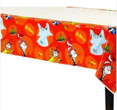 Dr Seuss Table (Dr. Seuss Plastic Table Cover ~ Kids Birthday Party Supplies Decoration)