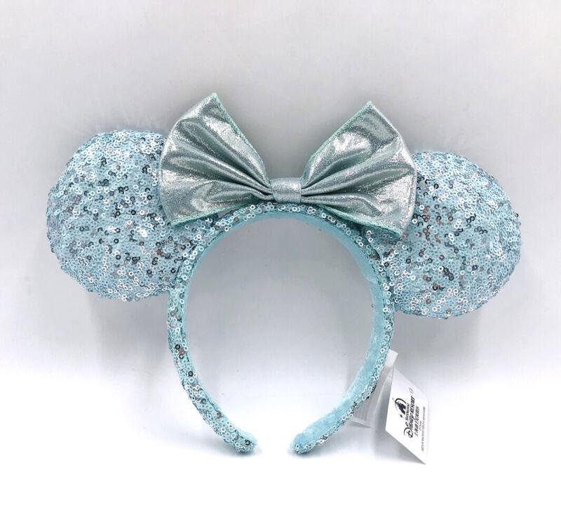 Retired Disney Parks 2020 Minnie Ears Blue Frozen Arendelle Aqua Headband