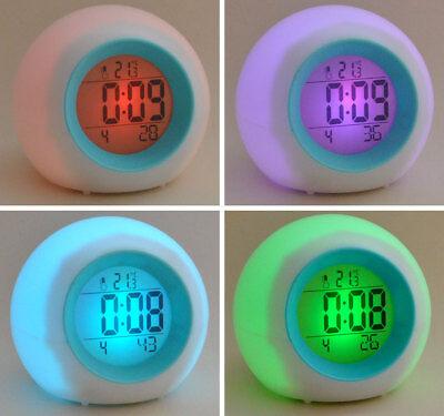 Wecker mit Farbwechsel LED Anzeige Naturklengeln Uhr Lichtspiel Stimmungslicht
