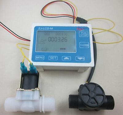 """G1"""" Flow Water Sensor Meter+Digital LCD Display control+Solenoid valve"""