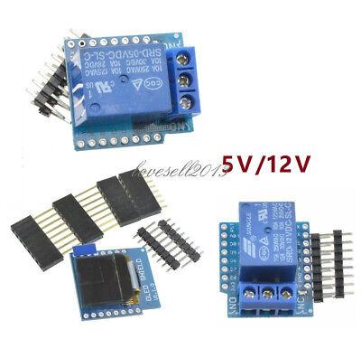 5v12v Wemos D1 Mini Wifi 1ch Relay Shield 0.66inch Oled I2c For Esp8266 Arduino
