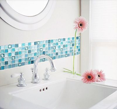 Home Bathroom Kitchen Wall Decor 3D Stickers Wallpaper Art Tile Blue Backsplash