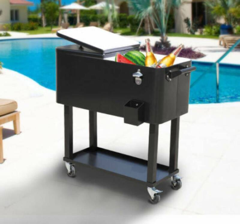 80Qt Outdoor Rolling Cooler Cart Ice Beer Beverage Chest Party Drink Camping