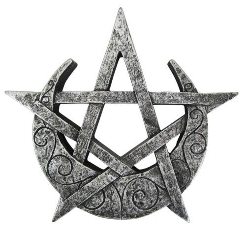 Crescent Moon Pentacle Plaque - Dryad Designs - Pagan Wiccan Pentagram - Silver
