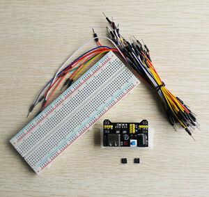 MB102 MB-830 Steckbrett Breadboard + 65 Drahtbrücken + 3.3V/ 5V Netzteil-Adapter
