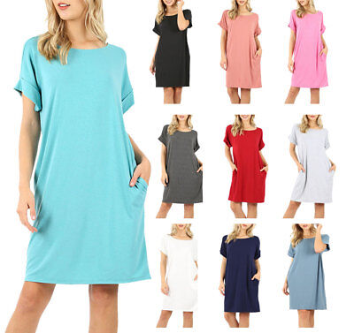 Womens Rolled Short Sleeve Shirt Loose Knit Tunic Dress with Pockets