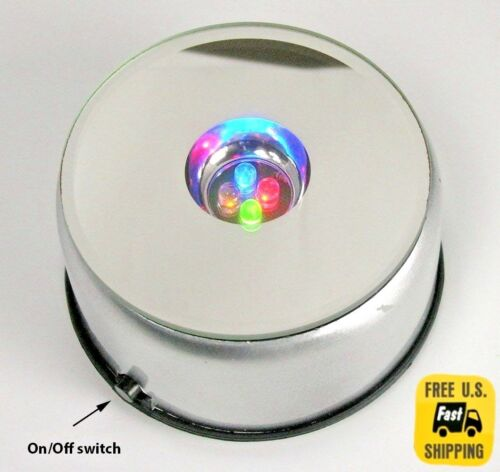 4 LED Round Colored Light Stand Base for Crystals Glass Art Paperweights NEW