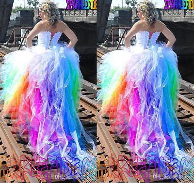 Plus 6-30W Hi-Lo Rainbow Beach Wedding Dresses Colorful Summer Bridal Ball - Beach Wedding Colors