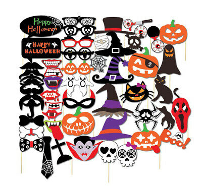 Halloween Photo Booth Props (52PCS Halloween Party Card Masks Pumpkin Photo Booth Props Supplies)