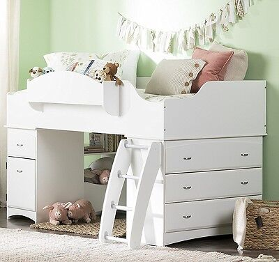 South Shore Imagine Collection Twin Loft Bed With Storage In Pure White New