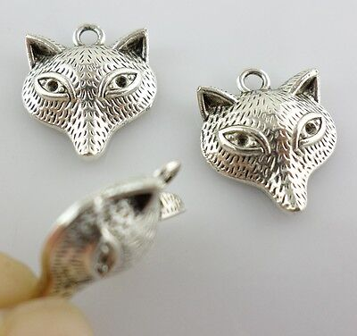 16pcs Tibetan Silver Fox Charms Crafts Pendants Jewelry Making 15x18mm - Fox Charm