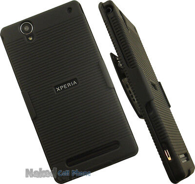 BLACK RUBBERIZED HARD CASE + BELT CLIP HOLSTER STAND FOR SONY XPERIA T2 ULTRA 2 Rubberized Hard Case