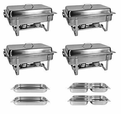 Profi SET 4x Chafing Dish 8x GN Behälter Warmhaltebehälter Speisewärmer Chafing Dish Set