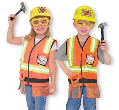 Bauarbeiter Kostüm Bauhelm Kinder Set Weste mit Werkzeuggürtel Spiel-Werkzeug - Spieler Kostüm Weste