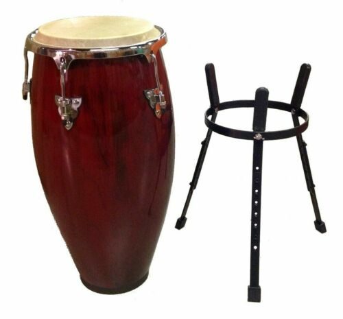 """Refurbished B-Stock - Conga DRUM 12"""" and STAND - RED WINE -World Percussion"""