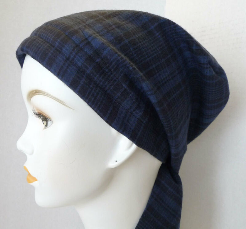 Navy Blue Plaid Cancer Chemo Head 100% Cotton Scarves Turban Hair Loss Hat Cap