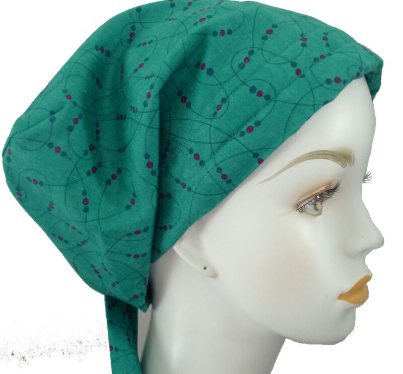 Classic Teal Cancer Hat Alopecia Cotton Hair loss Scarf Turban Head Wrap Cover