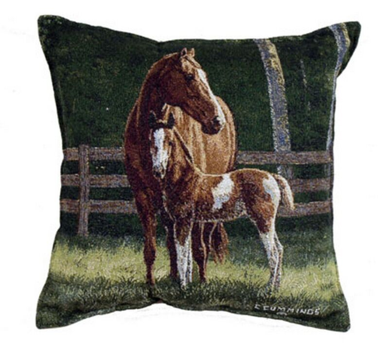 "HORSES Pillow Josie Tapestry Throw 17"" x 17"" Made in USA Mom & Colt Animals Farm"