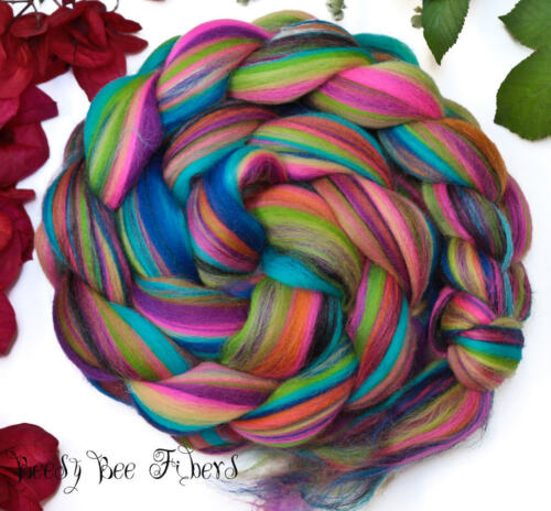 Custom Blend Merino and Silk Combed Top Wool Roving for Spinning, Felting 4 oz