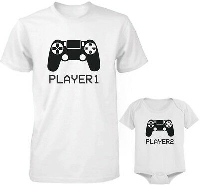 - Dad and Baby Matching White T-Shirt and Bodysuit Set - Player 1 & Player 2