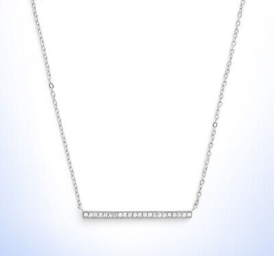 Nordstrom Rhodium Plated Pave Cubic Zirconia Dainty Slim BAR PENDANT Necklace