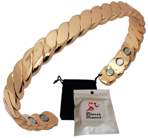Twisted Copper Magnetic Bracelet Carpal Tunnel Arthritis Pain Relief w/Pouch