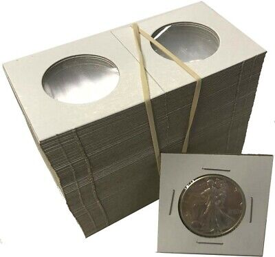 Half Dollar 2x2 Coin Cardboard Mylar Flips Holder Bundle of 100 Cowen's Best US (Half Dollar Coin Holder)