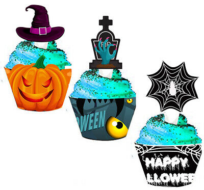 12Sets Halloween Cupcake Toppers Wrappers Spider Web Pumpkin Cake Party Supplies