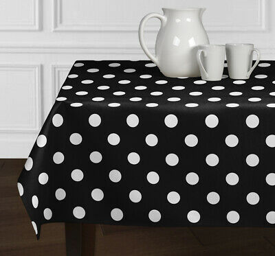 Black & White Polka Dot Tablecloth Dining Room Kitchen Rectangle Oblong - Black And White Polka Dot Table Cloth