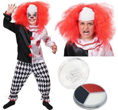 KINDER HORROR CLOWN KOSTÜM VERKLEIDUNG ZIRKUS FASCHING HALLOWEEN KARNEVAL - Kinder Halloween Clown Kostüm