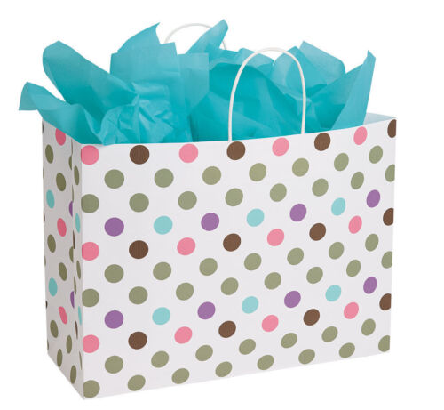 Paper Shopping Bags Polka Dot Gift 125 Assorted Sizes Retail Merchandise