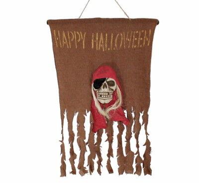 ge Piratenschädel Maße ca. 65 x 52cm Deko Fahne 125872013F (Happy Halloween Schädel)