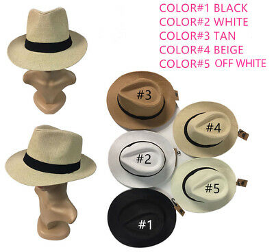 Women Men Brown Fedora Trilby Gangster Cap Summer Beach Sun Straw Panama Hat Bow - Gangster Fedoras