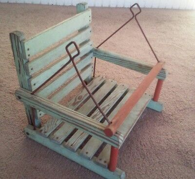 Vintage Green Painted Child's Tree Swing Seat Chair Distressed Dry Finish