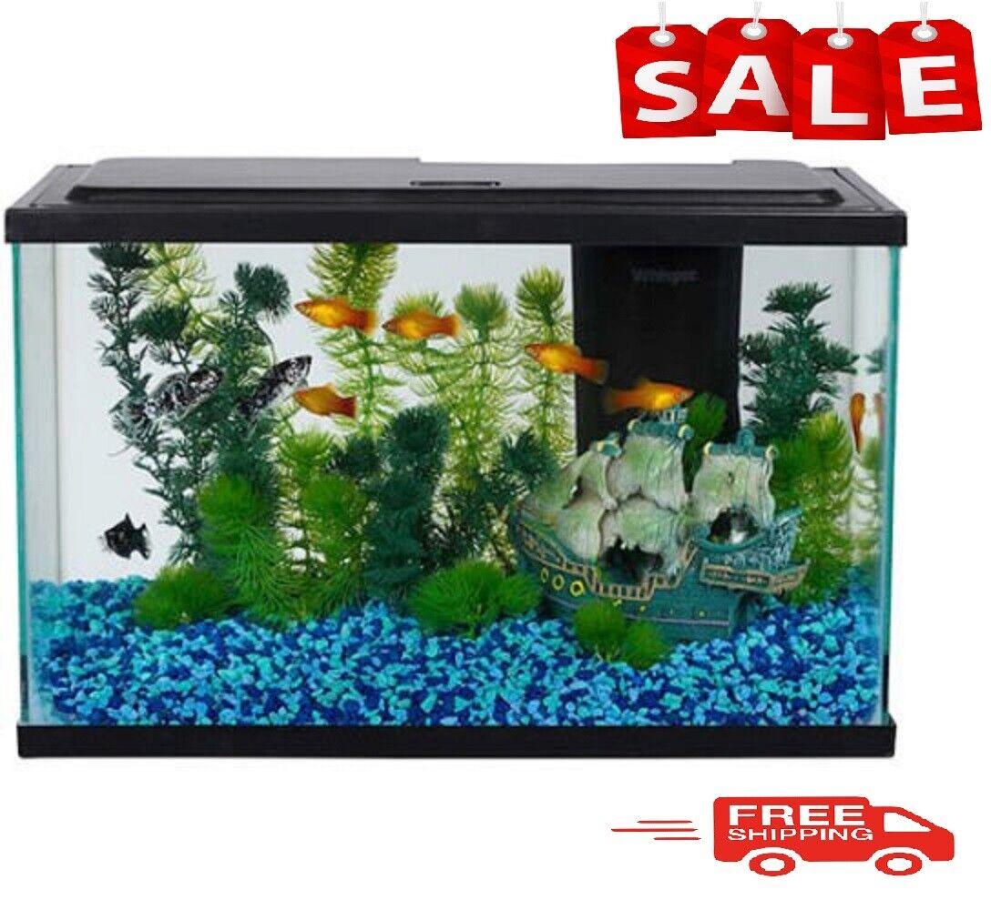 Aqua Culture 5-Gallon Glass Fish Tank LED Aquarium Starter Kit