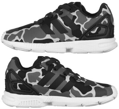 Adidas Originals ZX Flux Camo Infant Trainers Boys Girls Elasticated Lace Carbon