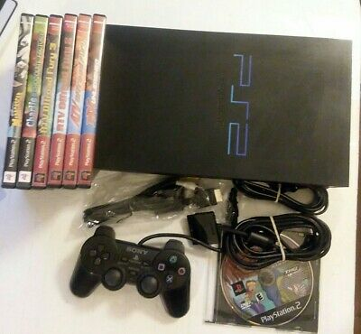 Sony PlayStation 2 SCPH-50001 Console PS2 W/ Controller Cables & 7 Games Bundle