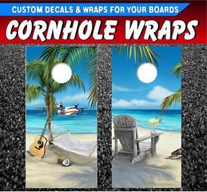 Beach Cornhole Corn Hole Board Decal Sticker Wraps FREE SHIPPING