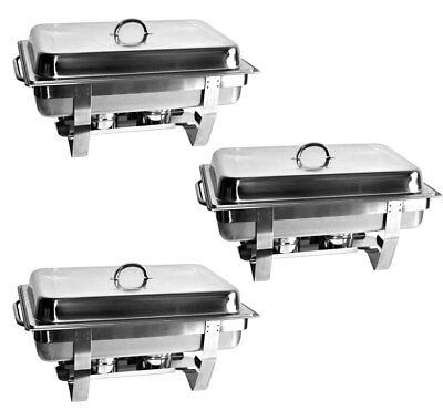 SET 3x Chafing Dish Speisewärmer Warmhaltegerät 3x GN 1/1 65mm Warmhaltebehälter Chafing Dish Set