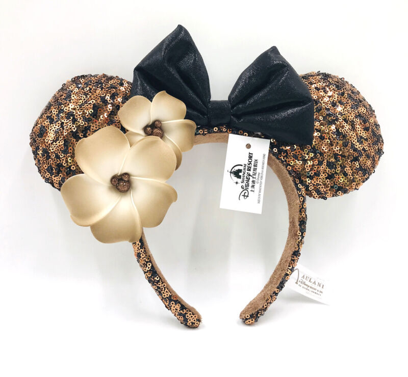 Minnie Ears Party Resort Disney Parks Black Gold Plumeria Aulani Hawaii Headband